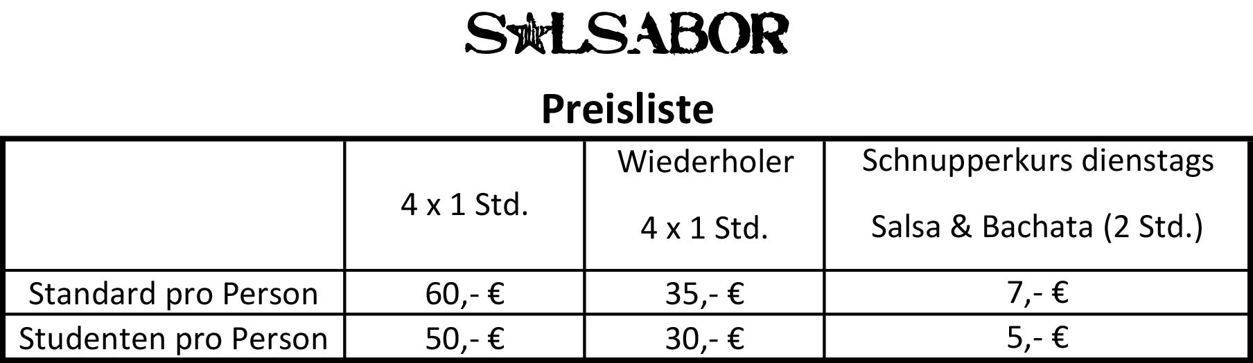 Salsabor Corona Preisliste